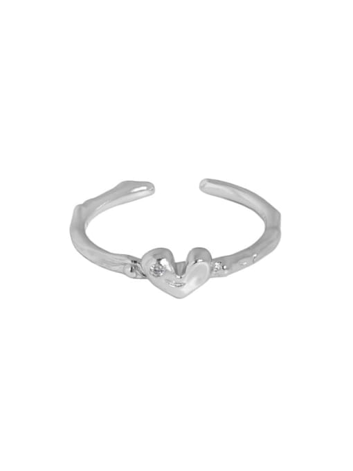 White gold [No. 14 adjustable] 925 Sterling Silver Heart Minimalist Band Ring